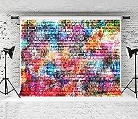 Kate 2.2X1.5M 落書きのレンガの壁の背景写真写真スタジオのカラフルな壁のためのシームレスな洗える背景の背景