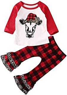 YOUNGER STAR Toddler Baby Girl Christmas Outfit Cow Print Tops Shirt+Bell Bottom Red Plaid Pants Long Leggings Winter Clothes
