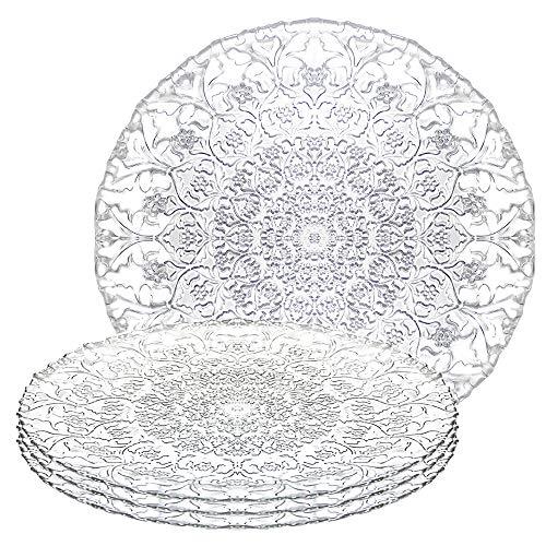 Almaigc Aspen Teller flach, 32.7cm, Haus und Küche Verwenden Sie langlebigen Teller, Glas, transparent, 4 Stück