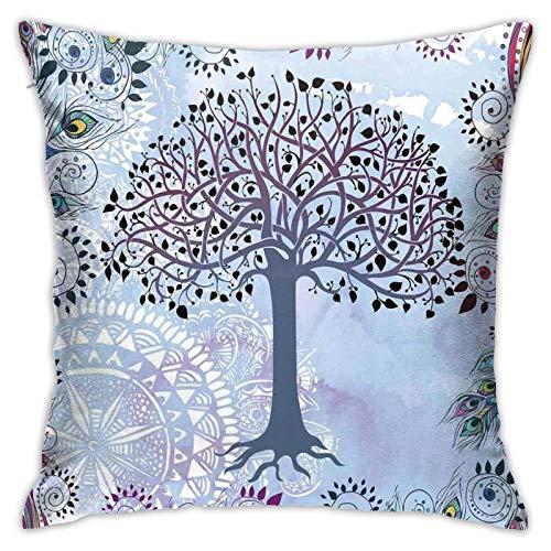 qidong Fundas de cojín decorativas con diseño de árbol de la vida con plumas de pavo real tribal vintage primitivo tema de la naturaleza ilustraciónFunda de cojín para el hogar sofá dormitorio 18 18