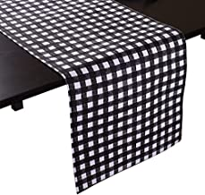 LinenTablecloth Black Checkered Runner 90 Inch