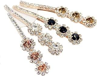 4 PCS Women Lady Girls Crystal Hairpins Rhinestone Elegant Flower Hair Snap Clip Hair Pin Clamps Accessories Bobby Pin Headwear