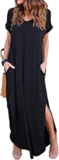 Women's Long Sleeve Maxi Dress Casual Loose Long Dress V Neck Split Floral Solid Summer Beach Dress with Pockets