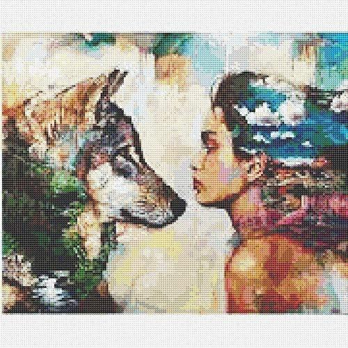 SINACO DIY 5D, kit per pittura a punto croce, decorazione da parete per la casa, Beauty & Wolf, 15,7 x 11,8 in 1 confezione