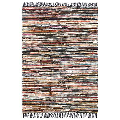 FAMIROSA Alfombra chindi Tejida a Mano Cuero 190x280 cm Multicolor