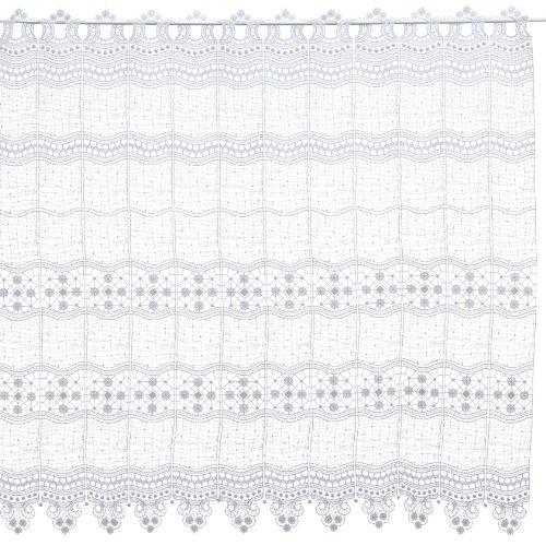 Plauener Spitze by Modespitze, Store Bistro Gardine Scheibengardine mit Stangendurchzug, hochwertige Stickerei, Höhe 90 cm, Breite 144 cm, Weiß