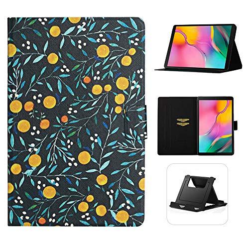 Shinyzone Flip Leder Hülle für Samsung Galaxy Tab A 10.1 Zoll T510,Gelb Frucht Muster Dünn und Leicht Schutzhülle Kartensteckplätze mit Magnetverschluss Multi Angle Einstellbar Standfunktion