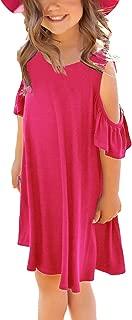 Girl's Summer Dress Ruffle Cut Out Short Sleeve Loose Casual Holiday Tunic Shirt Swing Dress