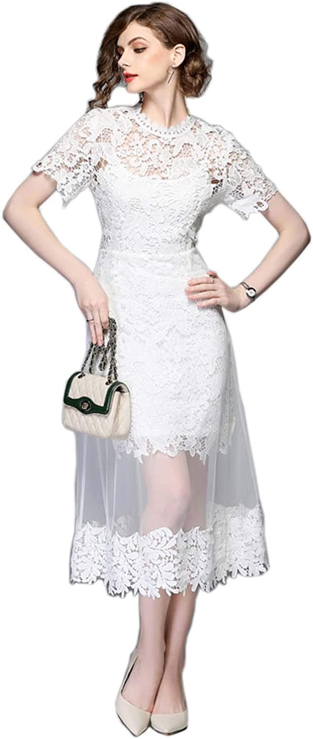 Alice Fung Women Floral LacWedding Bridal Gown Bridesmaids Party Cocktail Prom Dress with Gauze