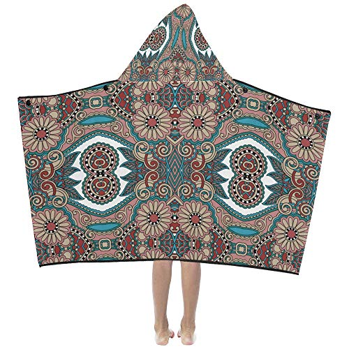 Mexican Vintage Tribal Ethnic Soft Warm Cotton Blended Kids Dress Up Hooded Wearable Blanket Bath Towels Throw Wrap for Toddlers Child Girls Boys Size Home Travel Picnic Sleep Gifts Beach