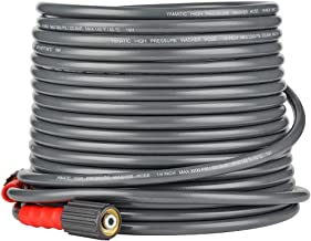 YAMATIC Flexible & Wear Plus Pressure Washer Hose 3200 PSI 50 FT X 1/4 INCH Non-Kink with (2) M22-14mm for Pressure Washer Hose Replacement
