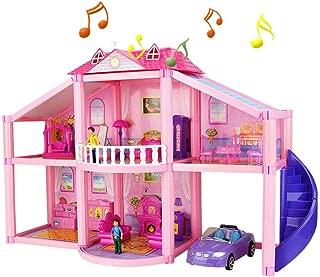 Bloomma Pink Deluxe House House Set, Casa de muñecas en Miniatura Casa DIY Casa de muñecas Muebles Luz Regalo Casa Juguete para niña