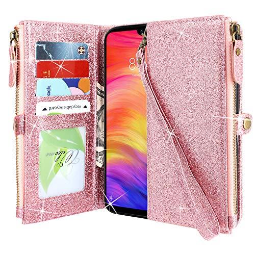"CMID Funda Xiaomi Redmi Note 7 / Note 7 Pro, PU Cuero Libro Billetera Tapa Antigolpes Protective [Función de Soporte] Cartera Carcasa Case para Xiaomi Redmi Note 7 (6.3"") (Cremallera Brillo Oro Rosa)"
