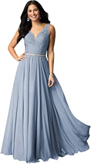 Women's V Neck Lace Appliques Long Prom Dresses Bodice Chiffon Formal Evening Gown