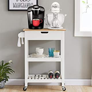 Coniffer Kitchen Cart White Microwave Cart Island Rolling Cart on Wheels Trolley Island with Storage