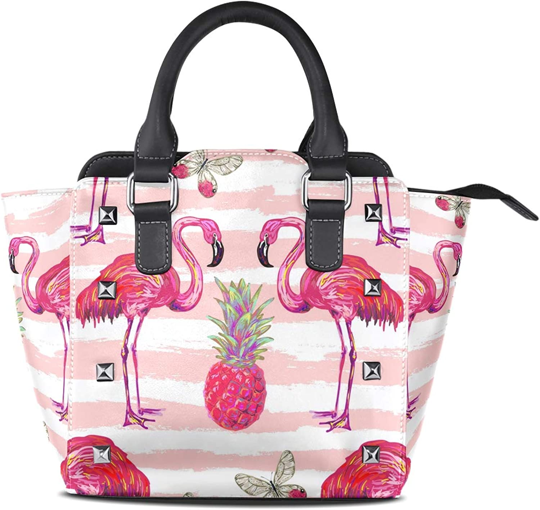 My Little Nest Women's Top Handle Satchel Handbag Summer Flamingo Pineapple Ladies PU Leather Shoulder Bag Crossbody Bag