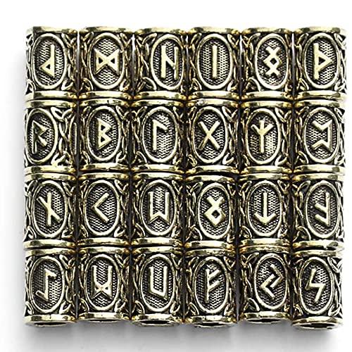 Lpydhfc 24 Piezas De Cuentas Vikingas Portátiles para El Cabello, Barba, Trenzas para El Cabello, Cuentas Trenzadas, Pulsera DIY, Colgantes De Joyería, Collar, Oro Retro