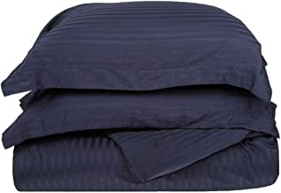 100% Premium Combed Cotton 300 Thread Count Twin 2-Piece Duvet Cover Set Stripe, Navy Blue