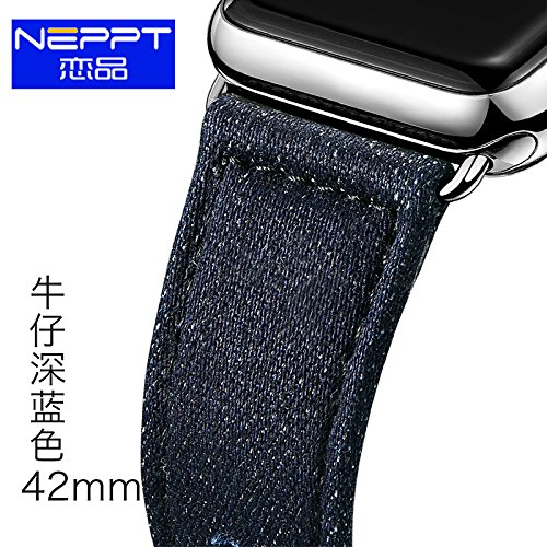 Apple Watch Band, Neppt tessuto Cinturino da Polso Band sostituzione fibbie in metallo per Apple iWatch tutti i modelli 38 mm e 42 mm, perfetto regalo di natale 42mm-Light Blue