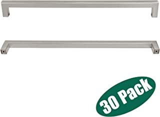 Cupboard Wardrobe Cabinet Pulls Handle,Stainless Steel Kitchen Cabinet Hardware Nickel Finish,30 Pack- Stainless Steel Square Bar,Hole Centers:12-3/5