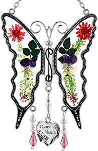 I Love You Nana New Butterfly SunCatcher Stained Glass Butterfly Sun Catcher Wind Chime for Windows for Nana Happy Mother`s Day Valentine's Day Birthday Christmas Thanksgiving Gift