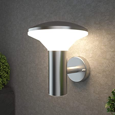NBHANYUAN Lighting® Outside Lights Mains Powered LED Outdoor Wall Light Silver Stainless Steel Exterior Light IP44 Weatherproof 3000K Warm White for Porch 1000LM