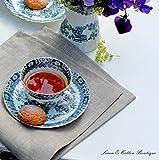Linen & Cotton 4 x Luxus Stoffservietten Anabella, 100% Leinen – 47cm x 47cm (Natur/Grau/Beige), Ideal für Hochzeit Gastronomie Hotel Restaurant Café Küche Catering Vereinsfeier Geburtstagsfeier - 2