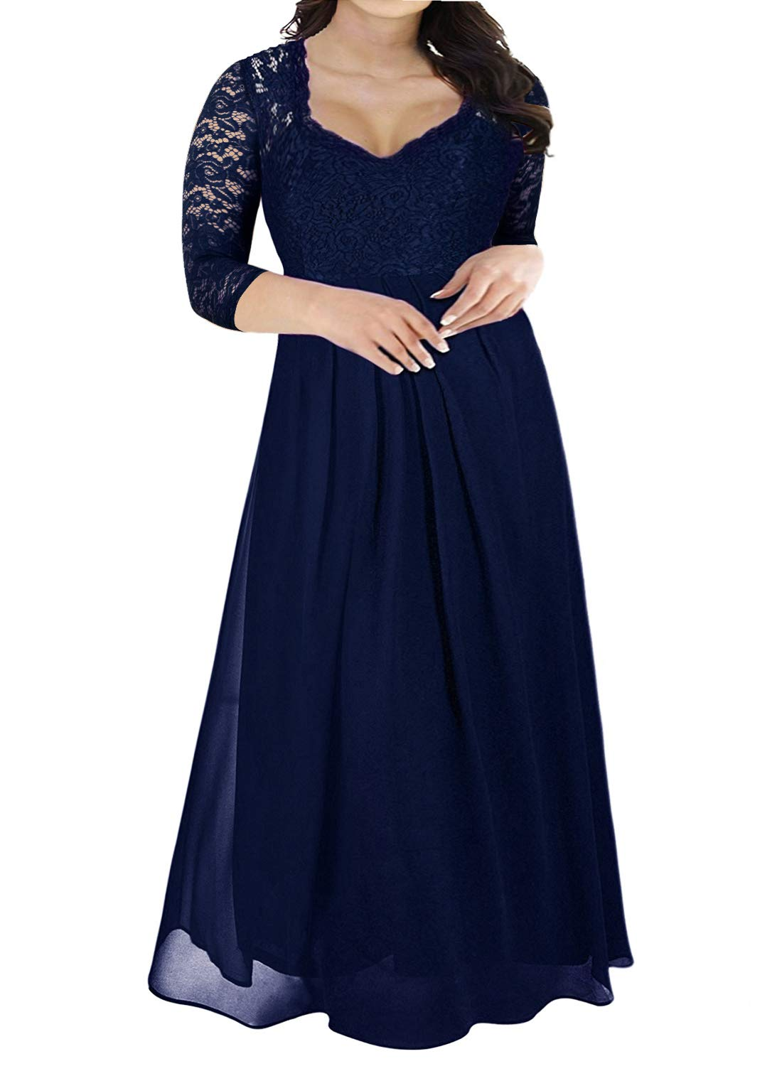 Plus Size Dresses - Womens Floral Lace 2/3 Sleeves Maxi Dress Plus Size Evening Party Dress