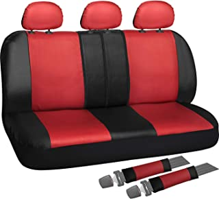 OxGord Back Seat Cover - PU Leather Two-Toned Rear Bench Universal Fit Car, Truck, SUV, Van - 8 Piece