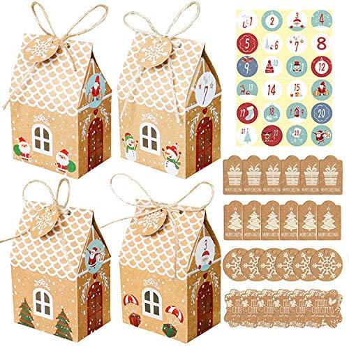 YHBX 24 Adventskalender zum Befüllen, Adventskalender Tüten mit 24 Zahlenaufklebern, Weihnachtskalender DIY Bastelset, Geschenkbeutel Weihnachtskalender Tüten (Hausform)