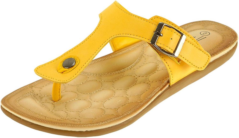 Cambridge Select Women's Slip-On Buckle Thong Flat Slide Sandal