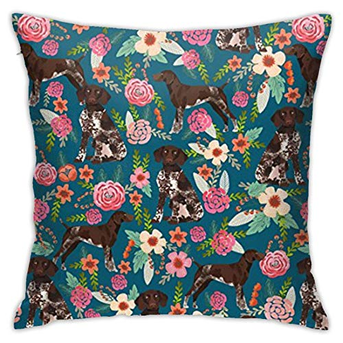 WH-CLA Couch Cushions Braco Alemán De Pelo Corto Floral Perro Cama Fundas De Almohada Fundas De Cojín Fundas con Cremallera Apartamento Sofá Fundas De Almohada Sofá Duradera Decoración D