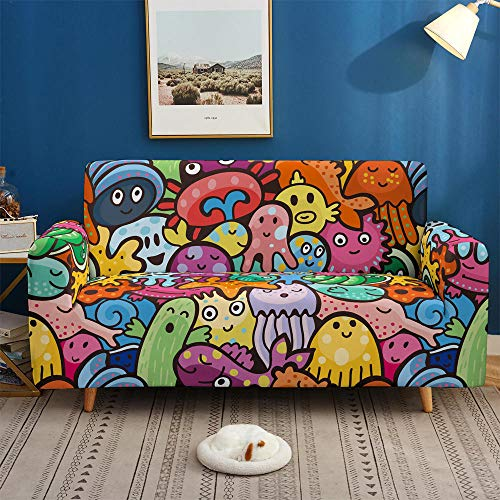 HXTSWGS Fundas Cojines de Sofa,3D Printing Colorful Sofa Covers, Stretch Slipcovers, Sectional Elastic Stretch for Living Room Couch Cover L shape-BDW69_2-Seater 145-185cm