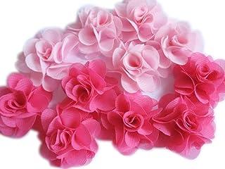 YYCRAFT, YYCRAFT Paquete de 30 diademas de gasa con flores de 3,8 cm, color rosa y rosa
