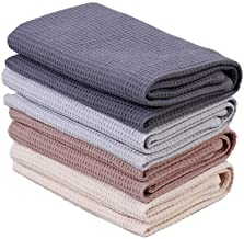 PY Home & Sports Dish Towel Set, 100% Cotton Waffle Weave Kitchen Towels 4 Pieces, Super Absorbent (17 x 25 Inches, Set of 4)