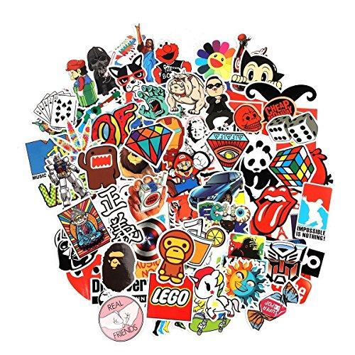 WayOuter Aufkleber Pack 100 Stücks Wasserdicht Vinyl Stickers Graffiti Decals Stickerbomb für Auto Motorräder Fahrrad Skateboard Snowboard Gepäck Laptop MacBook Computer