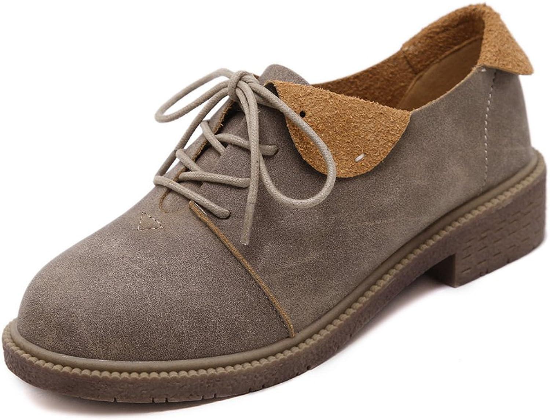 T-JULY Women's Western Oxfords shoes - Lightweight Lace-up Low Heel Dress Elegance Retro shoes