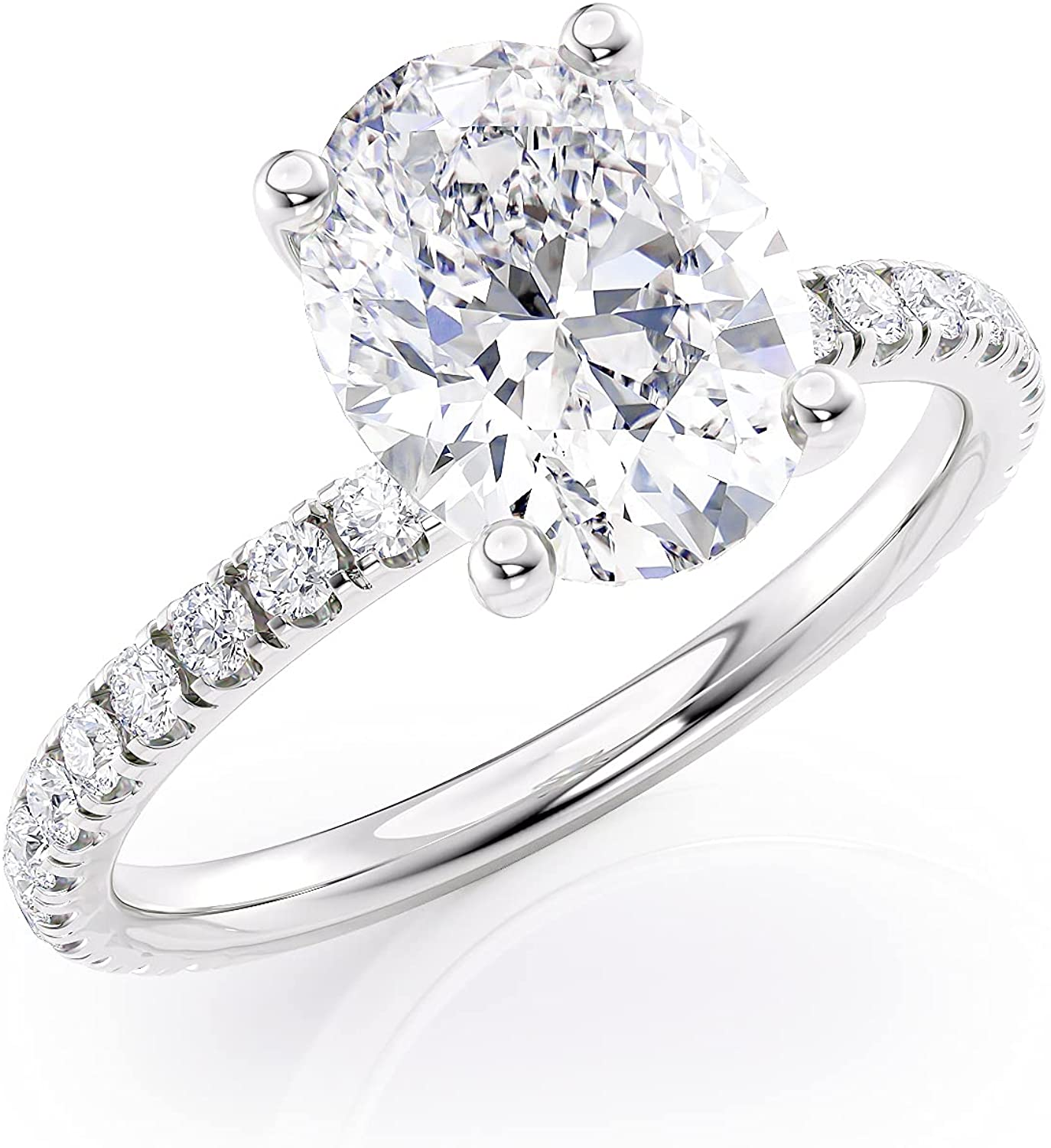 2 Carat Cheap mail order shopping Oval Moissanite Engagement Ring Max 47% OFF with Nat Round 1 3