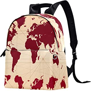 EGGDIOQ Vintage World Map Printed Fashion Leather Backpack Waterproof Durable School Bookbag Backpack Laptop Bag Daypack f...