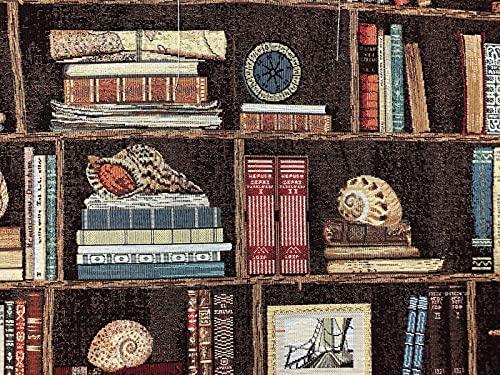 Libri nautici su scaffali, tessuto venduto al metro conchiglie marine, materiale venduto da cortile, ideale per tappezzeria e progetti di design, tende, cuscini, cuscini