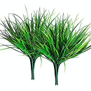 10 Pcs Artificial Outdoor Grass Plants, Faux Plastic Wheat Grass, Fake Leaves Greenery Shrubs Bushes UV Resistant Plants for Indoor Outdoor Hanging Home Garden Office Verandah Wedding Christmas Decor