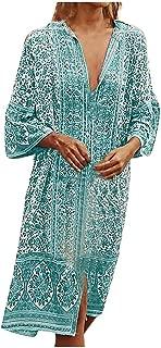 Women's Boho Floral Print Long Sleeve Loose Long Maxi Tunic Dress Vintage Printed Ethnic Style Shift Dress LONGDAY