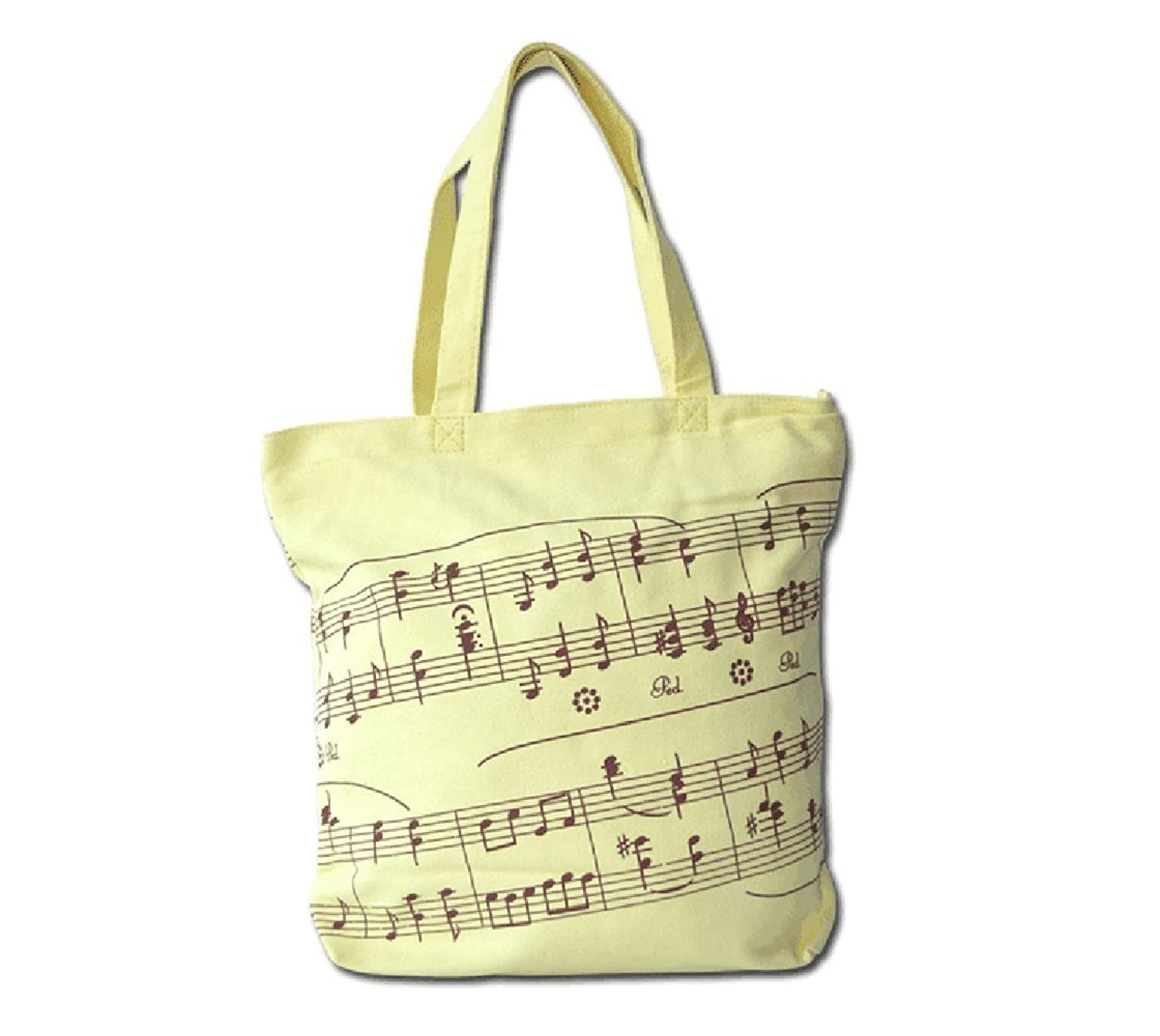 Music Symbols Print Canvas Tote - Simple Loving Music Symbols Print Canvas Tote Handbag Shoulder Shopping Bags Gift (Yellow-MG-349)