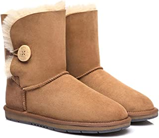 UGG Boots Short Classic with Button Premium Australian Sheepskin Water Resistant