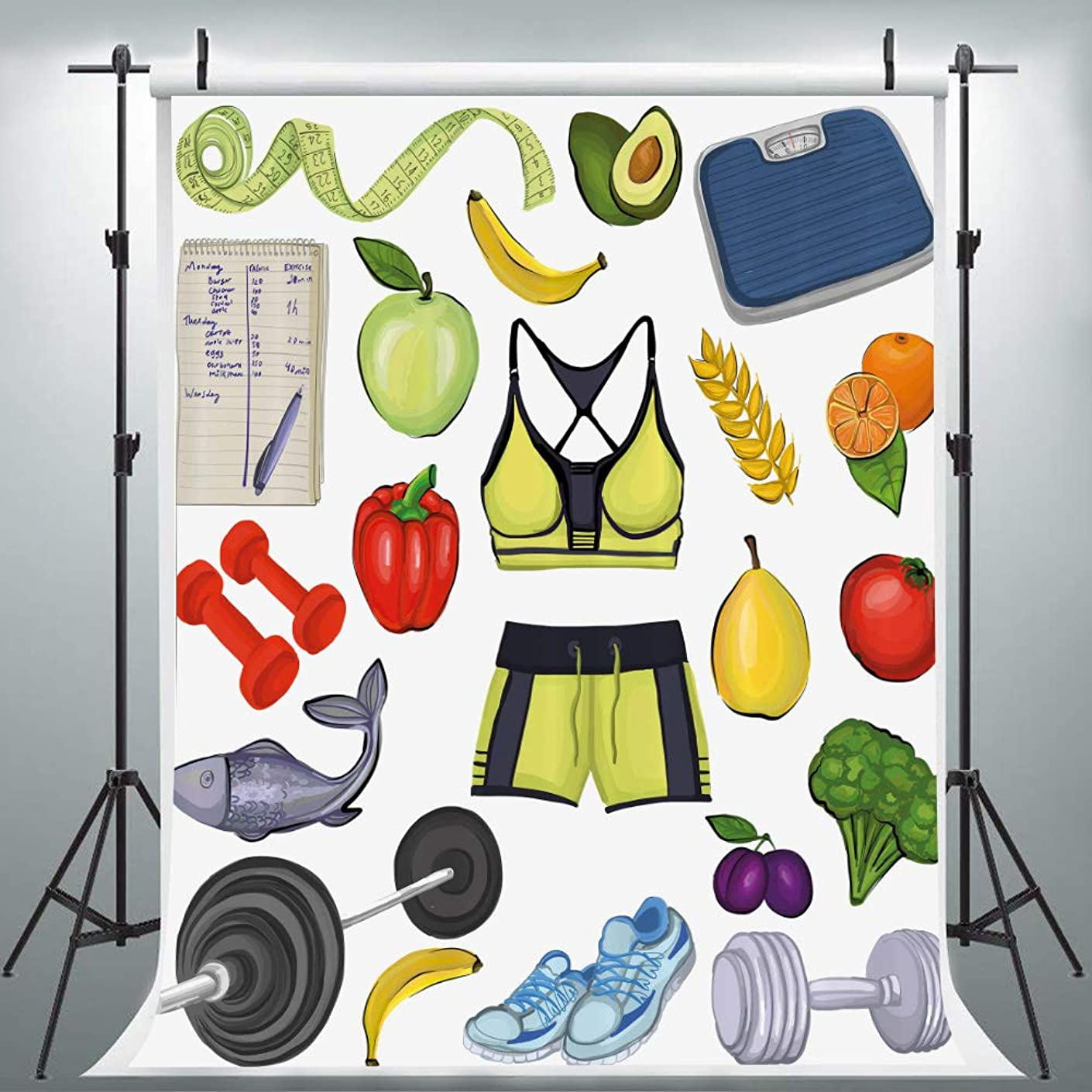 Fitness Gym Work Out Photography Backdrop for Party, 5x7FT, Exercise Physical Training Diet Vegetables Background, Photo Booth Studio Props LYLU567