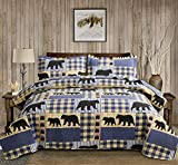 3 Piece Bear Paw Print Lightweight Plaid Quilt Set King(96X108 Inches),Rustic Home Lodge Pinetree Quilted Bedspread Coverlet Bedding Set with Patchwork of Wildlife Black Bear for All Season(King,Blue)