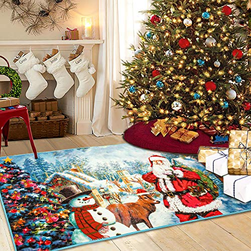 Homore Christmas Santa Bedroom Rugs, Shaggy Area Rugs with Snowing and Snowman Pattern for Home Decorative, Loop Velvet Carpets for Door Bedside Living Room Fireplace Floor, 3x5 Feet, Blue