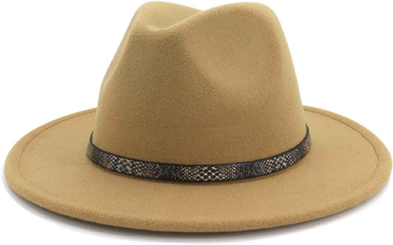 Packable Floppy Fedora with Snakeskin Belt Wool Wide Brim Felt Hat Unisex Style Vintage Panama Hat for Women
