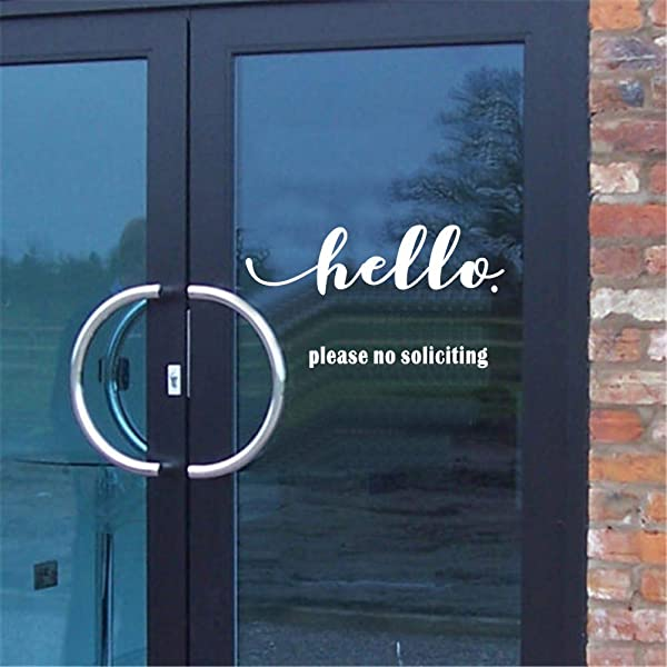 IARTTOP Hello Please No Soliciting Quote Saying Decal Creative Words Sticker For Living Room Window Door Home Decor White