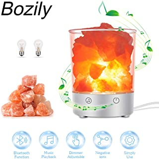 Himalayan Salt lamp, Bozily Crystal Night Light with Bluetooth Speaker & Touch Dimmer Switch, Natural Hymalain Pink Salt Rock Lamps for Yoga, Decoration & Best Gift (2 Extra Bulbs)